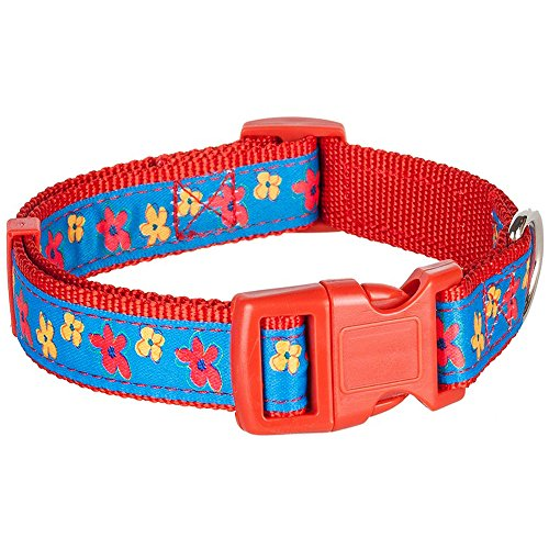 "Blueberry Pet Collars for Dogs,  Neck 12""-16"", Small,  Spring Scent Inspired Floral Garden Blue Magic  Basic Dog Collar, Matching Leash Available Separately"