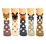 5 Pairs Women's Fun Socks Cute Dog Animals Funny Funky Novelty Cotton Gift (Dog and Dot)