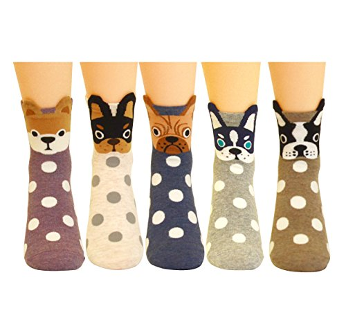 5 Pairs Women's Fun Socks Cute Dog Animals Funny Funky Novelty Cotton Gift (Dog and Dot),One Size ()