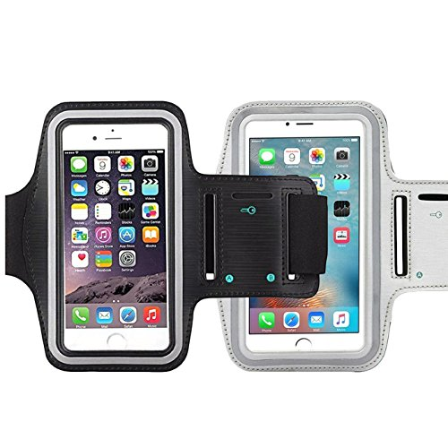 [2Pack]Water Resistant Cell Phone Armband,iBarbe 5.7 Inch Case for such as iPhone 8, 7, 6, 6S PLUS, Galaxy Note 8/S7 Edge/S8/S8+ - Adjustable Reflective Workout Band, Key Holder-silver+black]()