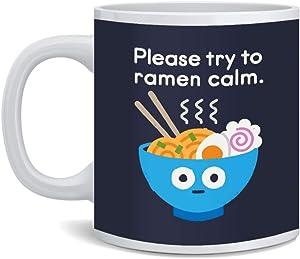 Please Try to Ramen Calm Funny Noodles Send Noods Food Pun Cartoon Cute Retro Ceramic Coffee Mug Tea Cup Fun Novelty Gift 12 oz
