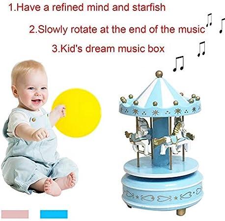 Rose Blue leanBonnie Bo/îte /à Musique de Carrousel pour Enfants pour Jouets Anniversaire de Mariage Cadeau