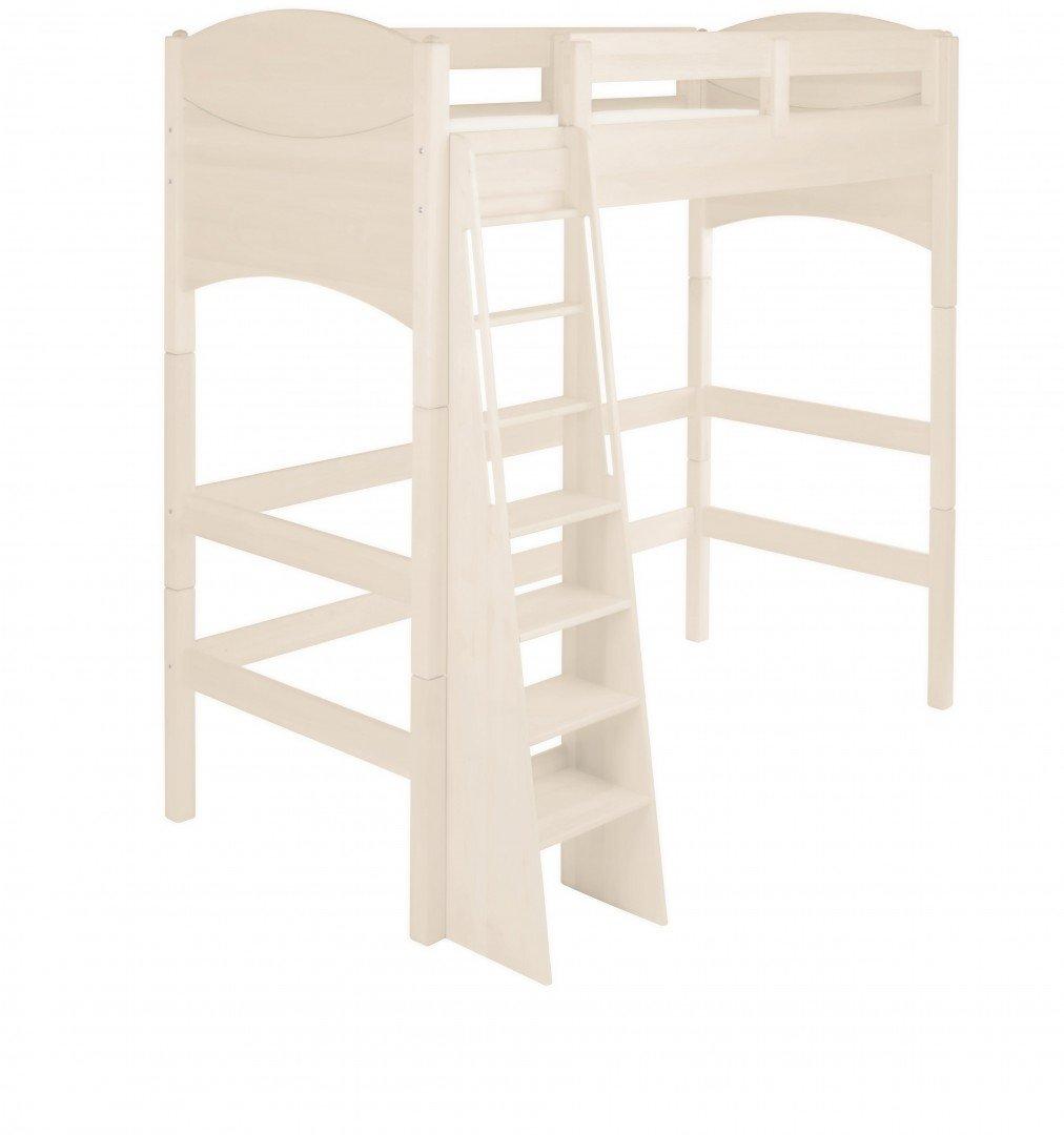 BioKinder 23878 Noah Spar-Set Kinder-Hochbett aus Massivholz Kiefer weiß 90 x 200 cm