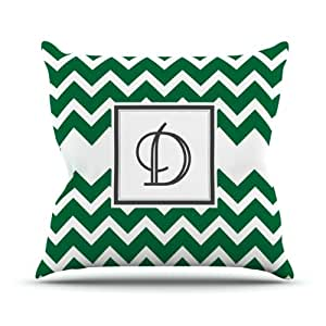 "Kess InHouse KESS Original ""Monogram Chevron Green Letter D"" Outdoor Throw Pillow, 16 by 16-Inch"