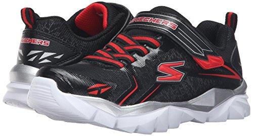 Skechers Kids Electronz Blazar Sneaker (Little Kid/Big Kid), Black/Red, 4.5 M US Big Kid
