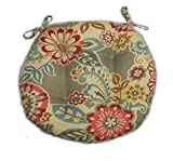 Resort Spa Home Decor Indoor/Outdoor Round Tufted Bistro Cushion with Ties - Light Grey/Gray Paisley Floral- Pink, Red, Yellow, Blue - Choose Size (16'')