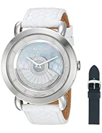 GV2 by Gevril Women's 'Catania' Swiss Quartz Stainless Steel and Leather Casual Watch, Color:Blue (Model: 3600)