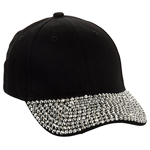 Crystal Case Studded Rhinestone Brim Adjustable Baseball Cap Hat (Black) (Baseball Rhinestone Black Hat)
