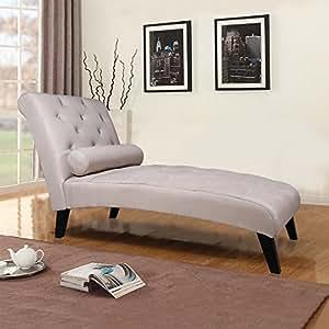 Merax Fabric Chaise Lounge Chair Leisure Sofa Living Room Sleeper Bed (Grey)