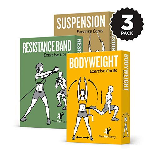 NewMe Fitness Exercise Cards 3 Pack of 62 - Bodyweight, Suspension, Resistance Band :: 50 Exercises for a Total Body Workout :: Extra Large, Waterproof & Durable, with Diagrams & Instructions