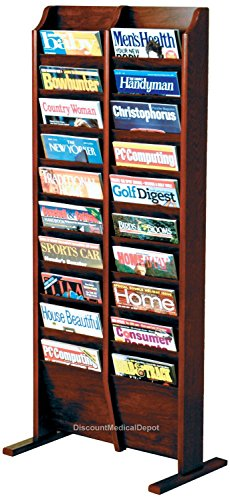 DMD Wood Magazine Rack, Free Standing, 20 Pocket, Mahogany Finish