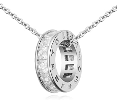 fc8832c9eff Image Unavailable. Image not available for. Colour: Crystalline Azuria Women  18 ct White Gold Plated White Zirconia Crystals Zodiac Circle Pendant  Necklace ...