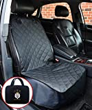 Car Seat Cover for Dogs - Fits Front Bucket Seats for Autos, SUV's, or Trucks - Waterproof, Padded for Pets, Non-Slip, w/ Side Flaps - Deluxe Model w/ Storage Case - Premium Quality - Black