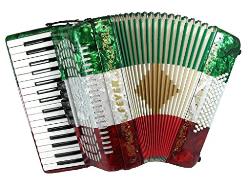 Fever F3460-MX Piano Accordion with 5 Switches, 34 Keys and 60 Bass, Red/White/Green by Fever