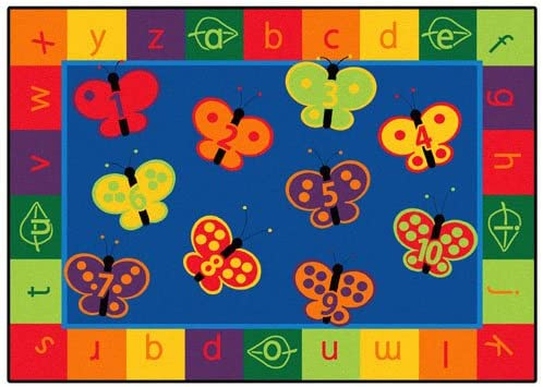 Carpets for Kids Literacy 123 ABC Butterfly Fun Kids Rug, 7 8 x 10 10 , Blue