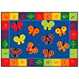 Carpets for Kids 3515 Literacy 123 Abc Butterfly Fun Kids Rug Size x x, 5'5'' x 7'8'', Blue