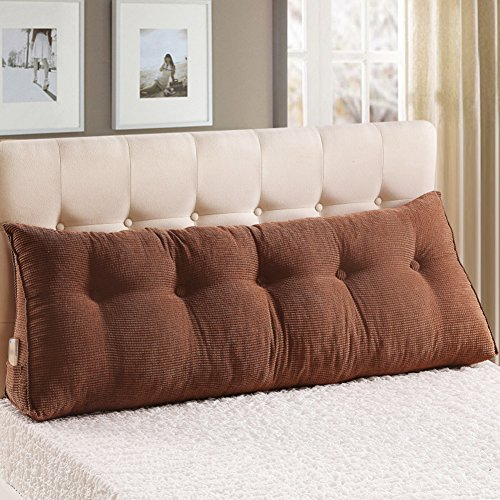 WOWMAX Large Filled Triangular Sofa Bed Back Cushion Positioning Support Backrest Pillows Reading Pillows with Removable Cover Coffee California King (Owl Target Pillow)
