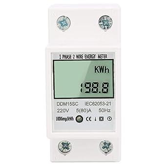 DDM15SD LCD Elektrozähler Wechselstromzähler Wattmeter Für DIN Hutschiene 5-80A