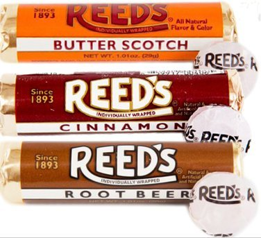 Reeds Hard Candy Rolls- 6ct- 2 Root Beer, 2 Cinnamon, 2 Butterscotch]()