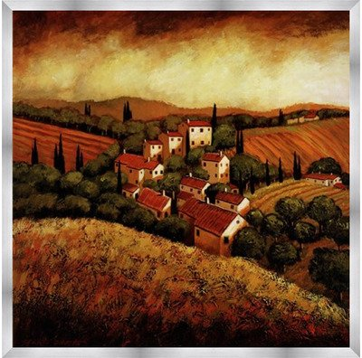 (Poster Palooza Framed Tuscan Hillside Village- 24x24 Inches - Art Print (Stainless Steel Frame))