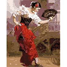 LICSE DIY Oil Painting Paint by Numbers for Adults Paintworks 16 x20 Woman Warm Dance