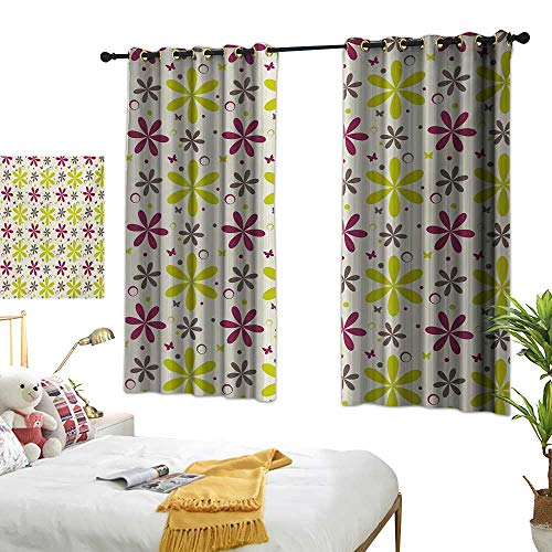 (Bedroom Curtains W72 x L45 Floral,Cute Flowers Buds with Butterfly and Circle Hoops Nature Design,Apple Green Maroon Dark Taupe Window Curtains Blackout Printed for Kitchen Bedroom Living Room)