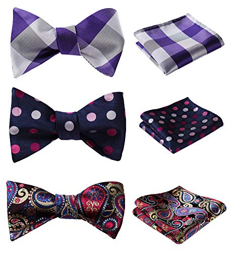 HISDERN 3pcs Mixed Design Classic Men's Self-Tie Bow tie & Pocket Square - Multiple Sets