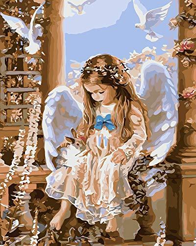 Suntown La pintura de madera enmarcada por numeros 40x50cm lienzo de pintura al oleo de DIY Sin marco Angel Y Conejo