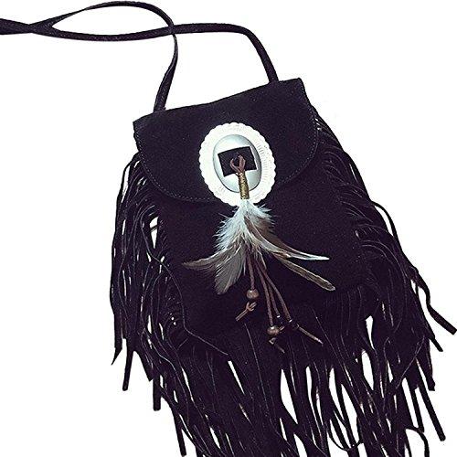 Bags String Kingko® Ladies Women's Tassel Satchel Girls Bag Design Crossbody Black Handbag Shoulder BBqw8T