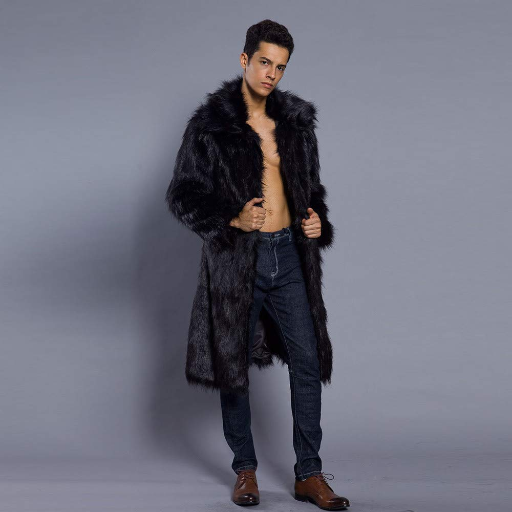 Sacherron Sharon Faux Fur Coat Winter Coat Long Coat Winter Clothing for Fashion Men