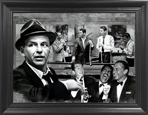 The Rat Pack The Rat Shooting Pool 3D Lenticular Picture - Frank Sinatra, Dean Martin, Sammy Davis Jr, Peter Lawford and Joey Bishop Shooting - 14.5x18.5 - Life Like 3D Art Poster, Cool Art Deco