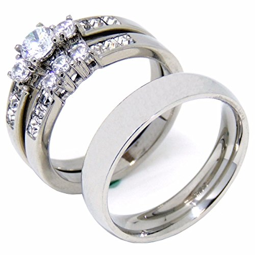 78b509299c50f Lanyjewelry His Hers Couple Rings Set Womens Stainless Steel Small Round CZ  Engagement Ring Set Mens Wedding Band - Size W6M13