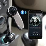 Bluetooth FM Transmitter AngLink Wireless Car Stereo Bluetooth Radio Adapter with Built-in Microphone AUX Port USB Charger Handsfree Car Kit