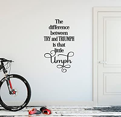 "24""x13"" The Difference Between Try and Triumph Is That Little Umph Workout Success Goal Positive Thinking Challenge Fitness Work Hard Train Sports Wall Decal Sticker Art Mural Home Decor Quote"