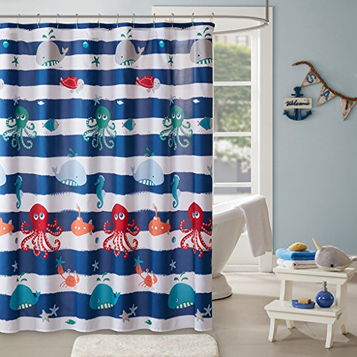 Sealife Kids Shower Curtain, Printed Animal Shower Curtains for Bathroom, 72 X 72, Navy (Mizone Shower Curtain)