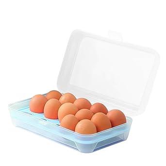 Bandeja de huevo para nevera, 15 huevos con tapa, contenedor de huevos portátil a