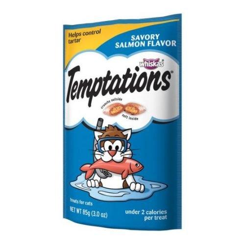 Mars Whiskas Temptations Savory Salmon Flavor Treat for Cat, 3 Ounce Peg - 12 per case.