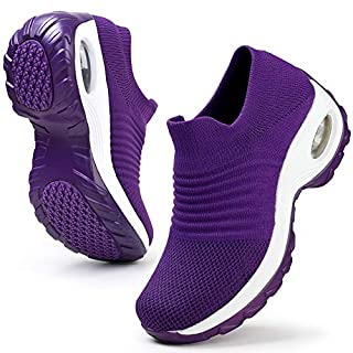 HKR Womens Walking Shoes Lightweight Platform Slip On Sneakers Comfortable Knit Mesh Working Shopping Shoes All Purple 7.5(ZJW1839chunzise39)