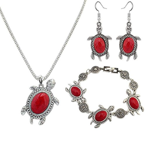 Jovono Women's Necklace Earring Bracelet Set For Women and Girls With Alloy Turtle Turquoise Red
