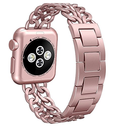 Aokay Apple Watch Band, Stainless Steel Metal Cowboy Chain Band for Apple Watch Series 2 Series, 38mm, Rose Gold