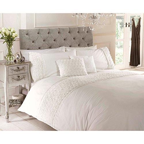 Rose Ruffle Bettwäsche-Set Chic, Vintage, Bettwäsche, Kissenbezüge, Tropen-Design, Baumwollmischung, cremefarben, Einzelbett