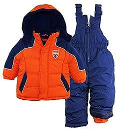 Ixtreme Baby Boys\' Color Block Snowsuit, Orange, 24 Months