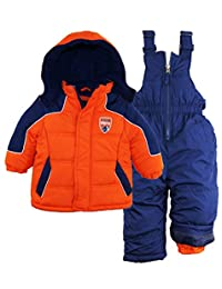 iXtreme Baby Boys Color Block Snowsuit Puffer Winter Jacket Ski Bib, Navy, 18 Months