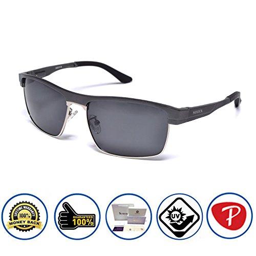 Soxick Matte Metal Frame Polarized Lens Square Round Aviator Wayfarer Sunglasses Black/Black/Square1
