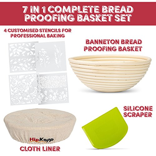 HipKopp 8.5 inch Banneton Bread Proofing Basket Set - eco-friendly Material Rattan Shape Loaf Bowl -Sourdough Kitchen Silicone Scraper Cloth Liner kit - 4 Customised Stencils for Professional Baking by HipKopp (Image #2)