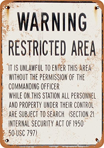Wall-Color 7 x 10 Metal Sign - Warning Military Restricted Area - Vintage Look ()