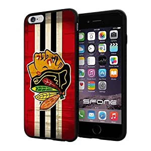 Chicago Blackhawks Hockey NHL Logo Apple Smartphone iPhone 6 Plus 5.5 inch Case Cover Collector TPU Soft Black Hard Cases by runtopwell