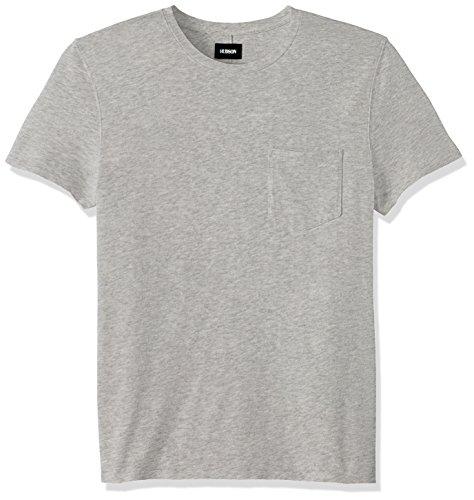 Hudson Jeans Men's Crewneck Pocket Tee Shirt, Heather Grey, XL
