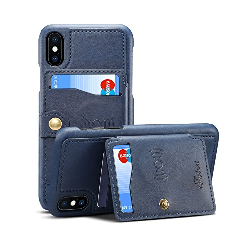Case for Apple iPhone Xs 5.8 2018 Apple iPhone X 2017 5.8,Leather ID Card Slot Holder Kickstand Sticking Protective Slim Soft Wallet Blue Cover Shell