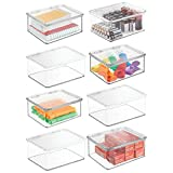 mDesign Small Mini Plastic Stackable Office Supplies Storage Organizer Box with Attached Hinged Lid, Holder Bin for Note Pads, Gel Pens, Staples, Dry Erase Markers, Tape, 8 Pack - Clear